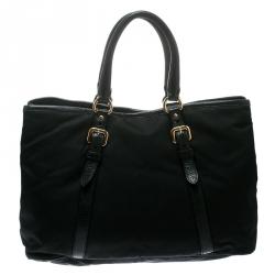 Prada Black Nylon and Leather Tote