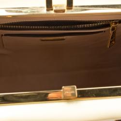 Prada Black/Yellow Patent Leather Pyramid Frame Top Handle Bag