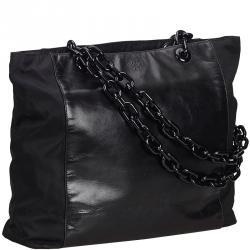 e5b1df1d243f Prada Black Leather Chain Tote Bag