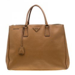 e59b6d3f5ee9 Prada Brown Saffiano Leather Executive Double Zip Tote