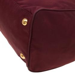 Prada Burgundy Nylon Pocket Zip Tote