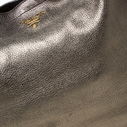 Prada Olive Green Metallic Vitello Daino Leather Hobo