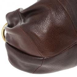Prada Brown Antik Cervo Leather Sacca Hobo