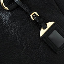 Prada Black Leather Vitello Diano Side Zip Tote