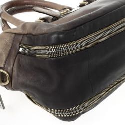 Prada Beige & Brown Ombre Glace Leather Zippers Satchel Bag