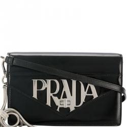 Prada Black Leather Logo Liberty Crossbody Bag