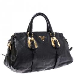 Prada Black Leather Belted Shoulder Bag