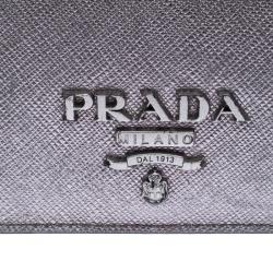 Prada Metallic Grey Saffiano Leather Compact Wallet