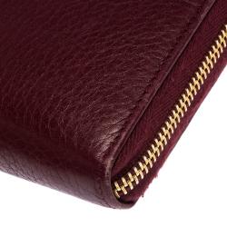 Prada Burgundy Leather Zip Around Continental Wallet