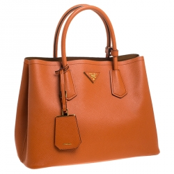 Prada Orange Saffiano Cuir Leather Medium Double Handle Tote