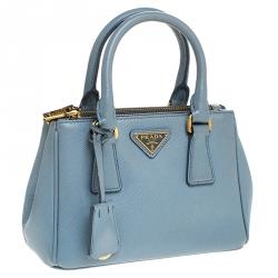 Prada Baby Blue Saffiano Lux Leather Mini Double Zip Tote