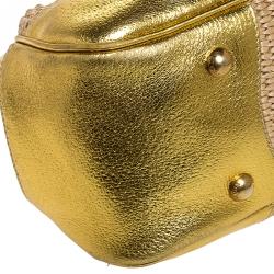 Prada Metallic Gold Straw and Leather Frame Bag