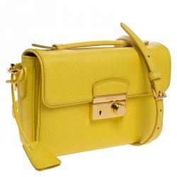 Prada Yellow Saffiano Leather Mini Sound Top Handle Bag