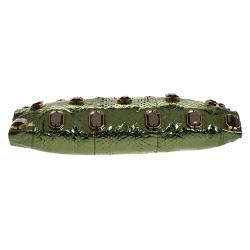 Prada Metallic Green Python Jewel Embellished Shoulder Bag