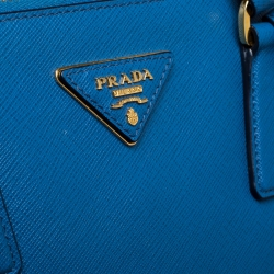Prada Two Tone Blue Saffiano Lux Leather Large Double Zip Tote