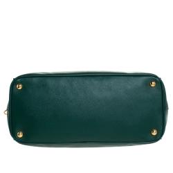Prada Green Saffiano Lux Leather Medium Galleria Double Zip Tote