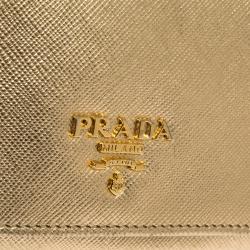 Prada Metallic Gold Saffiano Lux Leather Continental Wallet