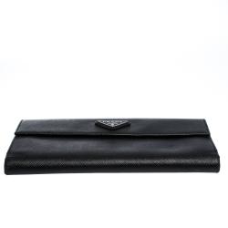 Prada Black Saffiano Lux Leather Continental Wallet