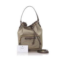 Prada Brown Canapa Canvas Shoulder Bag