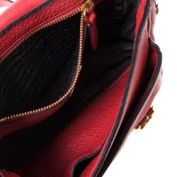 Prada Red Leather Buckle Flap Shoulder Bag