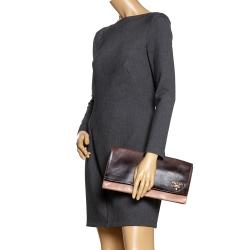 Prada Ombré Brown Leather Flap Clutch