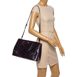 Prada Plum Floral Applique Patent Leather Medium Double Zip Tote