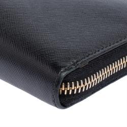 Prada Black Saffiano Lux Leather Zip Around Wallet