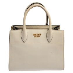 Prada Beige/White Leather and Snakeskin Bibliotheque Tote