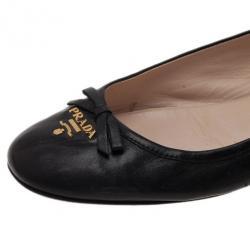 Prada Black Leather Logo Ballet Flats Size 39