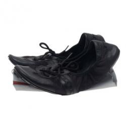 Prada Sport Black Leather Scrunch Lace Up Ballet Flats Size 40