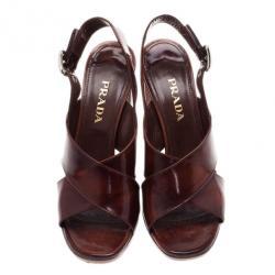 Prada Brown Leather Criscross Block Heel Slingback Sandals Size 38