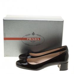 Prada Black Patent Leather Bow Block Heel Pumps Size 38