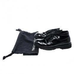 Prada Black Patent Leather Brogue Platform Sneakers Size 37.5