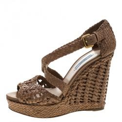 bf78256bc72e5 Prada Tan Woven Leather Madras Peep Toe Wedge Sandals Size 40.5
