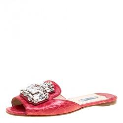 445b311a87da6f Prada Red Croc Embossed Leather Crystal Embellished Flat Slides Size 38