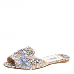 584a480a9535 Prada Special Edition Multicolor Brocade Fabric Crystal Embellished Peep  Toe Flat Slides Size 37.5