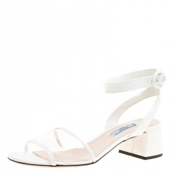 Prada White PVC and Patent Leather Sandals Size 39