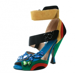 Prada Color Block Suede Asymmetric Jeweled Ankle Strap Sandals Size 38.5