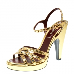 836b7e0fa431 Prada Gold Leather Studded Platform Ankle Strap Sandals Size 36