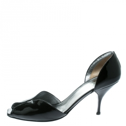 dab14579b3e2 Prada Black Patent Leather Open Toe D orsay Pumps Size 40
