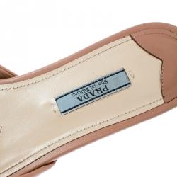 Prada Special Edition Beige Leather With Black Velvet Bow Peep Toe Flat Slides Size 37.5