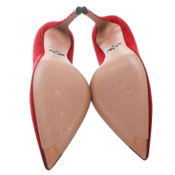 Prada Red Suede Pointed Toe Pumps Size 36.5