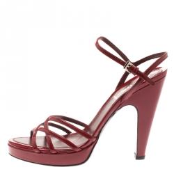 1f64187b4226 Prada Burgundy Patent Leather Ankle Strap Platform Sandals Size 39.5