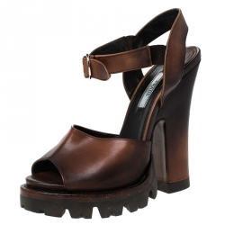 Prada Brown Leather Platform Ankle Strap Sandals Size 37