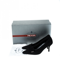 Prada Black Suede Leather Pointed Toe Pumps Size 37