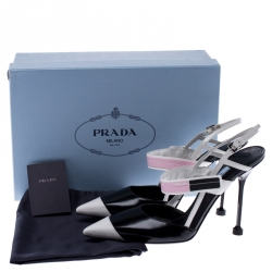 Prada Multicolor Leather Pointed Toe Slingback Sandals Size 38.5