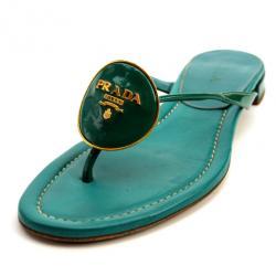 Prada Turquoise Thong Flat Sandals Size 38
