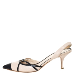 Prada Beige/Black Leather Slingback Pointed Toe Sandals Size 40