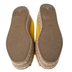 Prada Yellow Leather Crystal Embellished Peep Toe Platform Flat Espadrilles Size 40