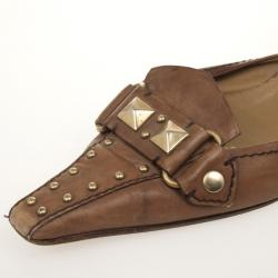 Prada Brown Leather Studded Mules 36.5